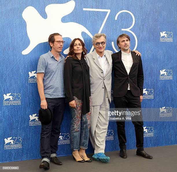 Reda Kateb Sophie Semin director Wim Wenders and Jens Harzer attend a photocall for 'Les Beaux Jours D'Aranjuez' during the 73rd Venice Film Festival...