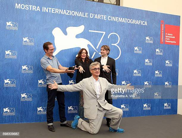 Reda Kateb Sophie Semin Jens Harzer and director Wim Wenders attend a photocall for 'Les Beaux Jours D'Aranjuez' during the 73rd Venice Film Festival...