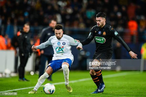 Reda LAMRABETTE of Granville and Nemanja RADONJIC of Marseille during the French Cup Soccer match between US Granville and Olympique de Marseille at...