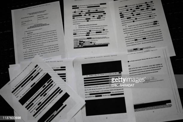 A redacted court filing from the Special Council Robert Mueller in the Paul Manafort case is viewed on April 16 2019 The final report from Special...