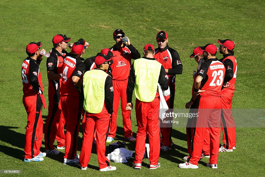 Redbacks captain Johan Botha speaks to his team during the Matador BBQs One Day Cup match between Tasmania and South Australia at North Sydney Oval on October 22, 2014 in Sydney, Australia.