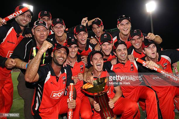 Redbacks players celebrate after the game during the 2012 Ryobi One Day Cup final match between the South Australia Redbacks and the Tasmania Tigers...