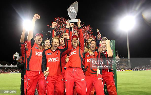 Redbacks players celebrates after the Twenty20 Big Bash Final match between the South Australian Redbacks and the New South Wales Blues at Adelaide...