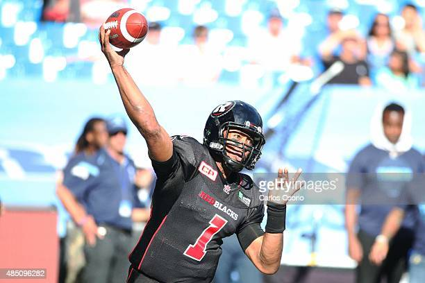 TORONTO ON AUGUST 23 RedBlacks Henry Burris during the 1st half of CFL action as the Toronto Argonauts take on the Ottawa RedBlacks at Rogers Centre...