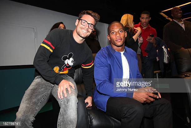 Redbull soccer player and DJ Heath Pearce and Victor Cruz of the New York Giants attend the FIFA 13 Launch Tournament at SPiN New York on September...
