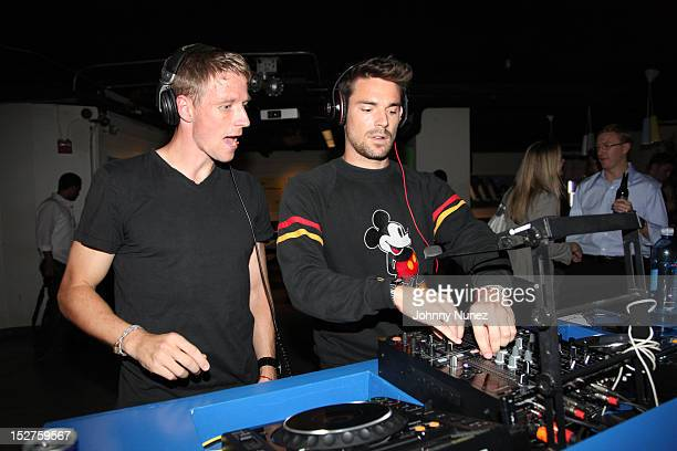 Redbull Soccer Players and DJ's Jan Gunnar Solli and Heath Pearce attend the FIFA 13 Launch Tournament at SPiN New York on September 24, 2012 in New...