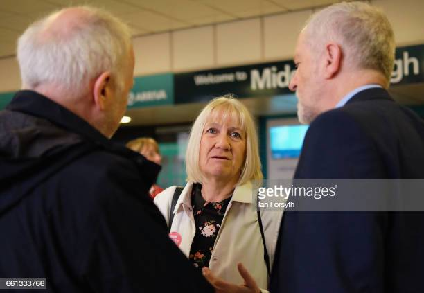 Redcar and Cleveland Council leader Sue Jeffery speaks to Labour leader Jeremy Corbyn and Middlesbrough MP Andy McDonald as they wait for the number...