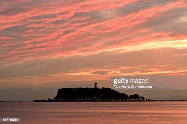 Red-colored clouds on Enoshima Island