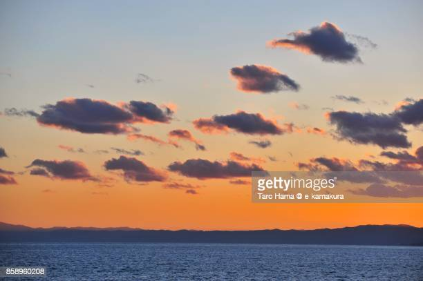 Red-colored clouds on Izu Peninsula and Sagami Bay in the sunset