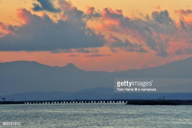Red-colored clouds on Mt, Hakone in Kanagawa prefecture in Japan