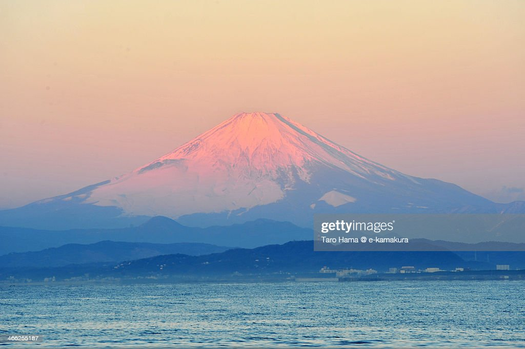Red-colored morning Mt.Fuji : Stock Photo