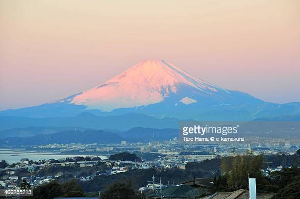 Red-colored morning Mt.Fuji