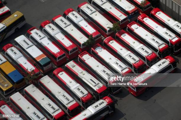 Red-colored roof buses in Seoul Bus Terminal