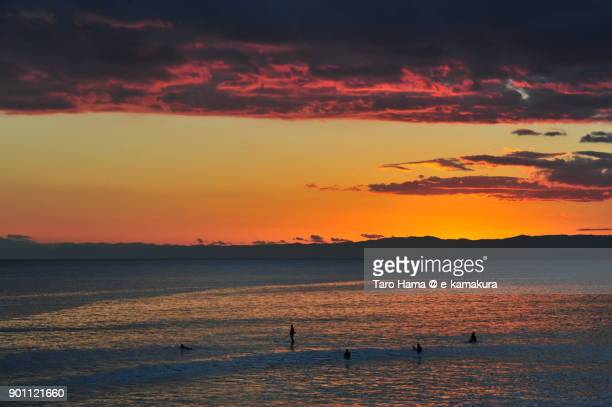 Red-colored sunset clouds on Izu Peninsula and Sagami Bay in Kanagawa prefecture in Japan