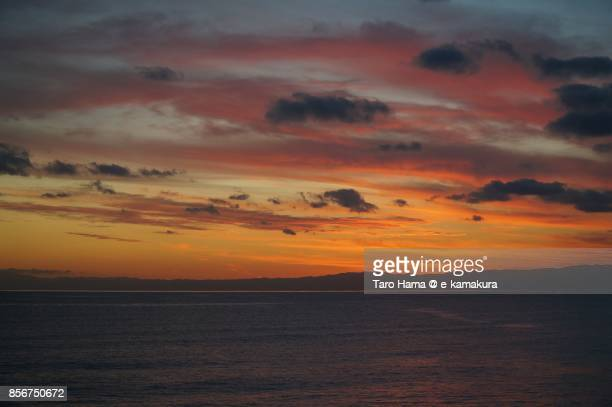 Red-colored sunset clouds on Sagami Bay and Izu Peninsula