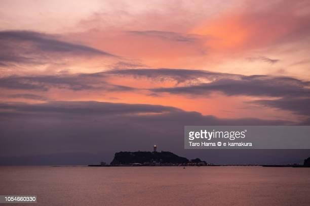 Red-colored sunset clouds on Sagami Bay, Enoshima Island in Kanagawa prefecture in Japan