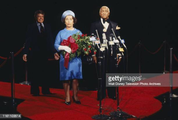 Redd Foxx in sketch with man as Jimmy Carter and woman as Queen Elizabeth on the ABC tv series 'The Redd Foxx Comedy Hour'
