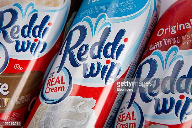Reddi Wip whipped topping a food product made by ConAgra Foods Inc is arranged for a photograph in New York US on Tuesday Nov 27 2012 ConAgra Foods...