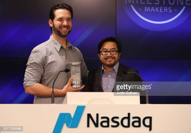 Reddit and Initialized Capital cofounder Alexis Ohanian and Initialized Capital cofounder Garry Tan prepare to ring the Nasdaq closing bell from the...