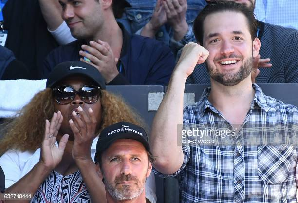 Reddit cofounder Alexis Ohanian cheers on his fiance Serena Williams of the US playing against Croatia's Mirjana LucicBaroni during their women's...