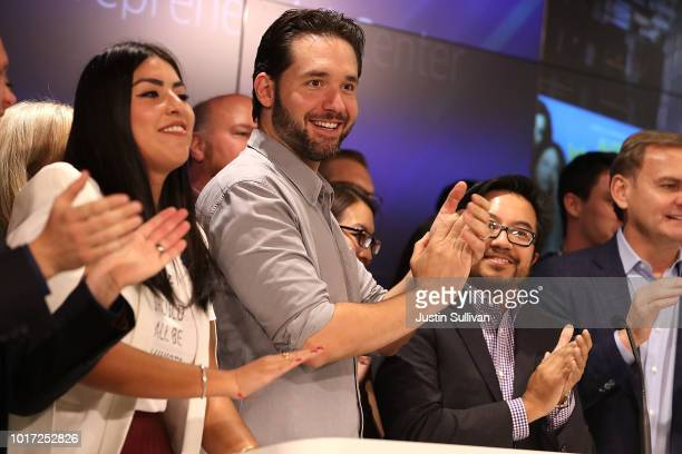 Reddit cofounder Alexis Ohanian claps before ringing the Nasdaq closing bell from the Nasdaq Entrepreneurial Center on August 15 2018 in San...