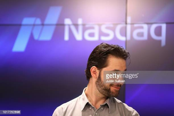 Reddit cofounder Alexis Ohanian prepares to ring the Nasdaq closing bell from the Nasdaq Entrepreneurial Center on August 15 2018 in San Francisco...