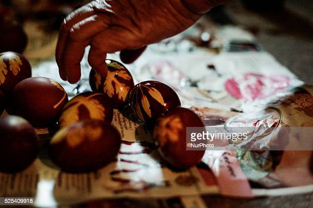 Red-dyed eggs, one of the customs during the Holy Week of the Greek Orthodox Easter. Karditsa, April 9, 2015.