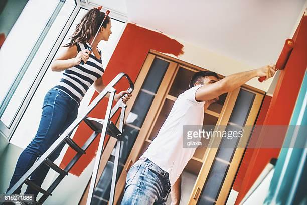 redecorating apartment. - pintar mural fotografías e imágenes de stock