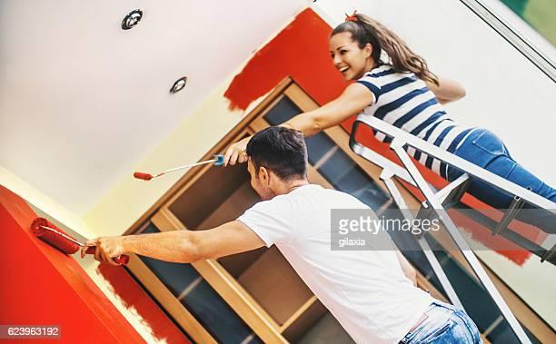 Redecorating apartment.
