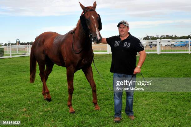 Redeeka and Jamie Opperman after winning the Donald Motor Lodge BM58 Handicap at Donald Racecourse on March 22 2018 in Donald Australia