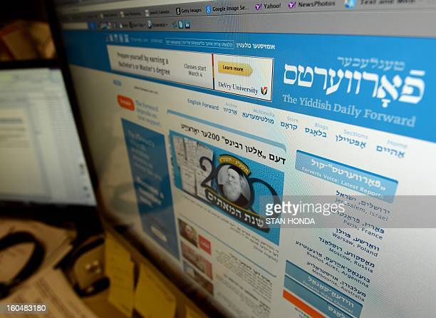 A redesigned website of The Yiddish Daily Forward is seen February 1 2013 in the newspapers' office in New York The Yiddish website part of the...