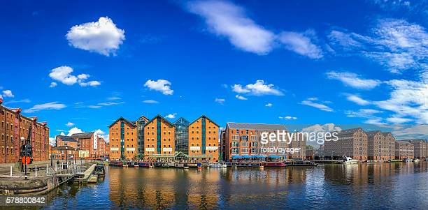 redeveloped warehouses canal barges waterfront restaurants panorama gloucester docks uk - gloucester england stock pictures, royalty-free photos & images