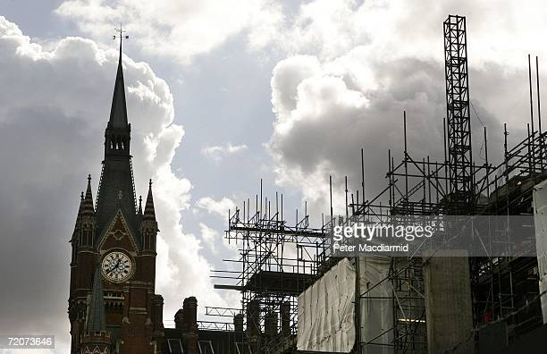 Redevelopment of St Pancras station has included renovation of the Grade 1 listed, 130-year-old Gothic facade on October 3, 2006 in London. As part...