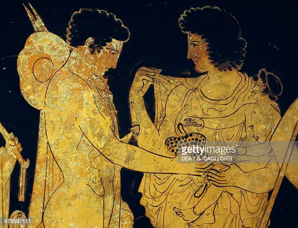 Redfigure krater depicting Meleager saying goodbye to his family before leaving to go hunting 420 BC painted by Dinos Greek civilisation 5th century...