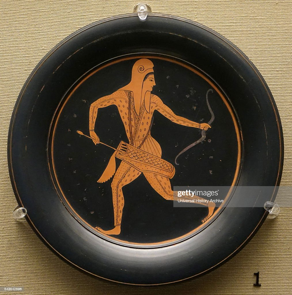 Red-figured plate, made in Athens : News Photo