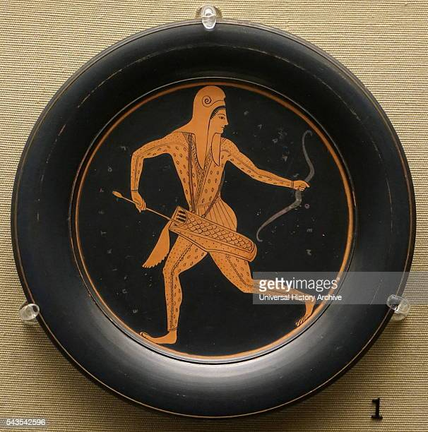 Redfigured plate depicts an archer made in Athens Dated 6th Century BC