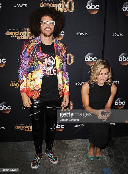 Redfoo and Emma Slater attend ABC's Dancing With The Stars season premiere at HYDE Sunset Kitchen Cocktails on March 16 2015 in West Hollywood...