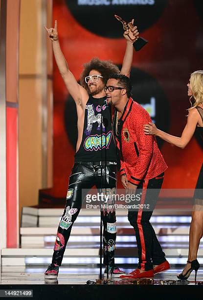 Redfoo and SkyBlu of LMFAO accept the Hot 100 Song of the Year award onstage at the 2012 Billboard Music Awards held at the MGM Grand Garden Arena on...