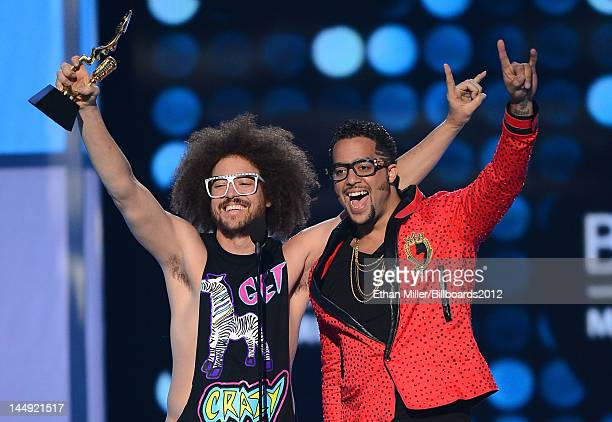 Redfoo and SkyBlu of LMFAO accept the Top Duo/Group award onstage at the 2012 Billboard Music Awards held at the MGM Grand Garden Arena on May 20...