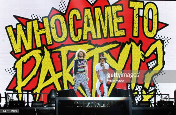 Redfoo and SkyBlu of LMFAO perform at Nassau Veterans Memorial Coliseum on June 26, 2012 in Uniondale, New York.