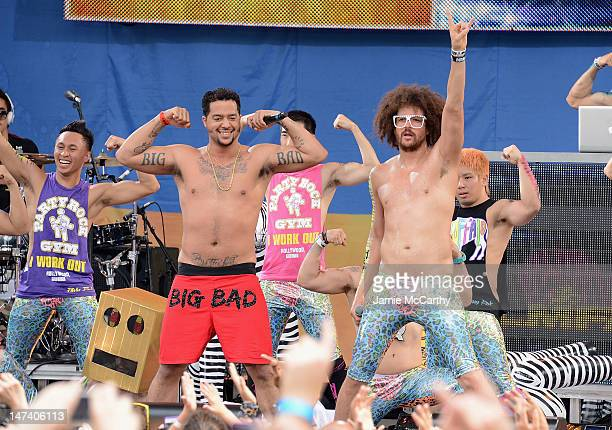 Redfoo and SkyBlu of LMFAO perform on ABC's Good Morning America at Rumsey Playfield Central Park on June 29 2012 in New York City