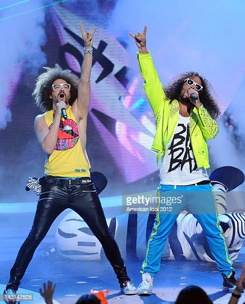 RedFoo and SkyBlu of LMFAO perform onstage at FOX's American Idol Season 11 Top 7 With Save To 6 Live Elimination Show on April 19 2012 in Hollywood...