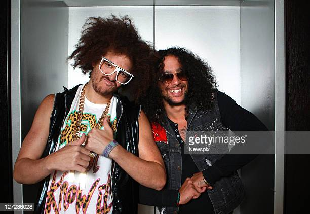 Redfoo and SkyBlu of LMFAO pose for a portrait at The Sofitel on September 26 2011 in Sydney Australia