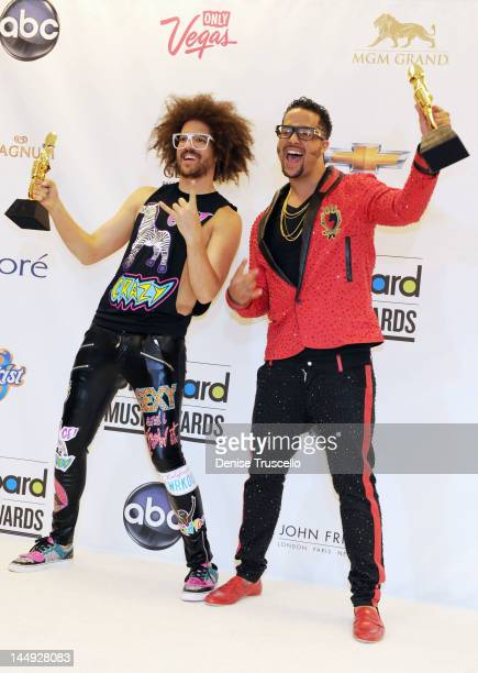 Redfoo and SkyBlu of LMFAO pose in the press room at the 2012 Billboard Music Awards at the MGM Grand Garden Arena on May 20 2012 in Las Vegas Nevada