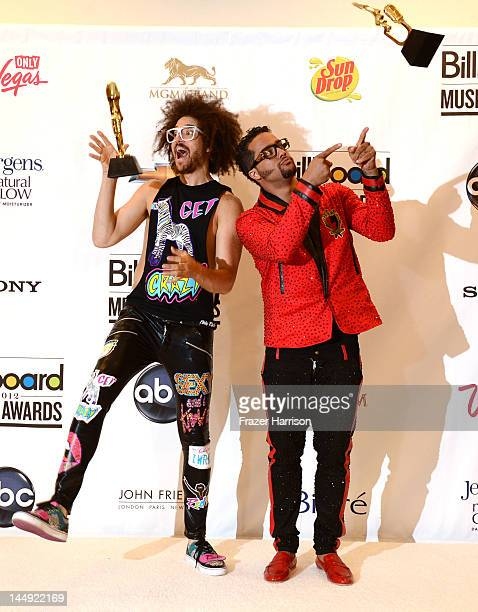 Redfoo and SkyBlu of LMFAO winners of the Hot 100 Song of the Year award pose in the press room at the 2012 Billboard Music Awards held at the MGM...