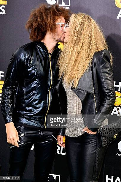 Redfoo and Victoria Azarenka arrive at the 4th Annual Cartoon Network Hall Of Game Awards at Barker Hangar on February 15 2014 in Santa Monica...