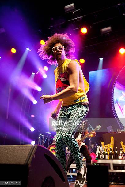 Redfoo of LMFAO performs onstage during day 8 of the Super Bowl Village on February 3 2012 in Indianapolis Indiana
