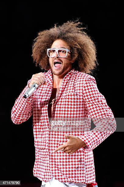 Redfoo performs at halftime at a basketball game between the San Antonio Spurs and the Los Angeles Clippers at Staples Center on April 28 2015 in Los...
