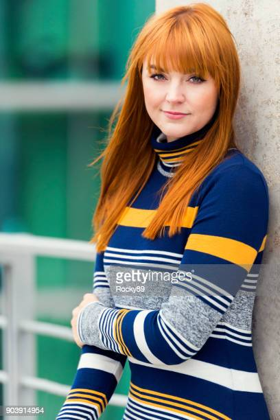 red-haired woman, portraits in berlin, germany - striped dress stock photos and pictures