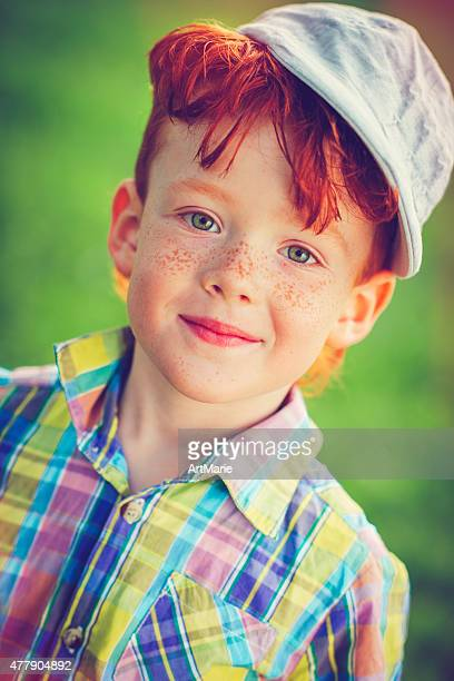 redhead boy outdoors - dyed red hair stock pictures, royalty-free photos & images